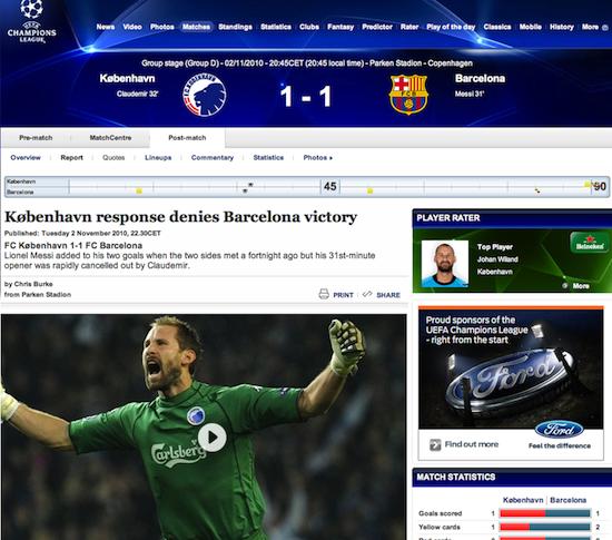 UEFA, Fck-Fcb 2010